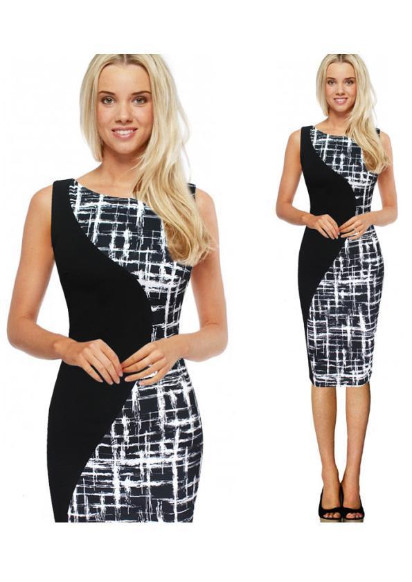 Dual-Printed Sleeveless Dress (Code: E1303)