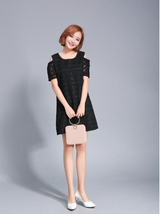 Keyhole-Sleeves Lacey Dress (Code: E1280)