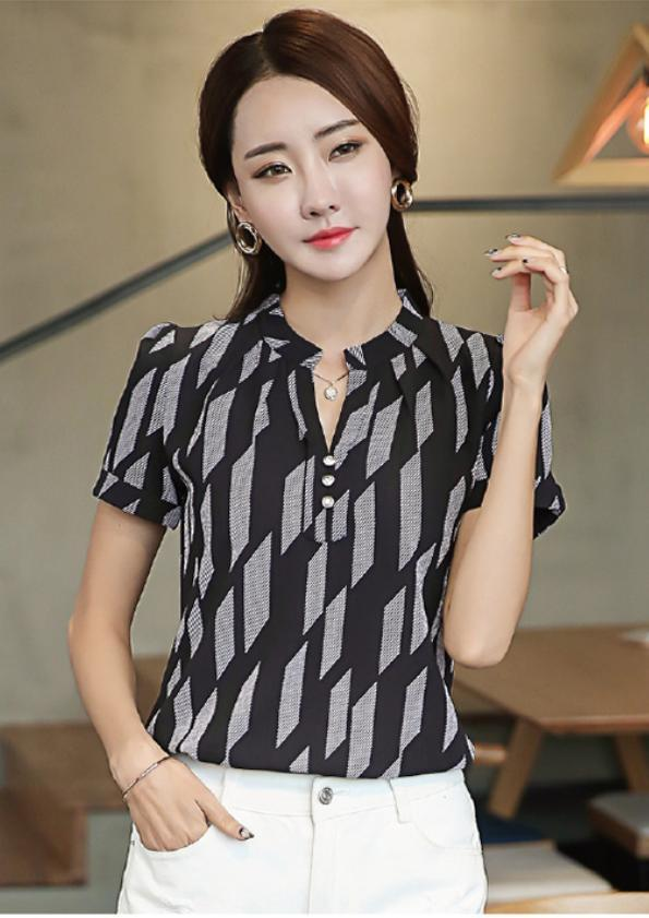 Short-Sleeves Printed Top (Code: E3840)