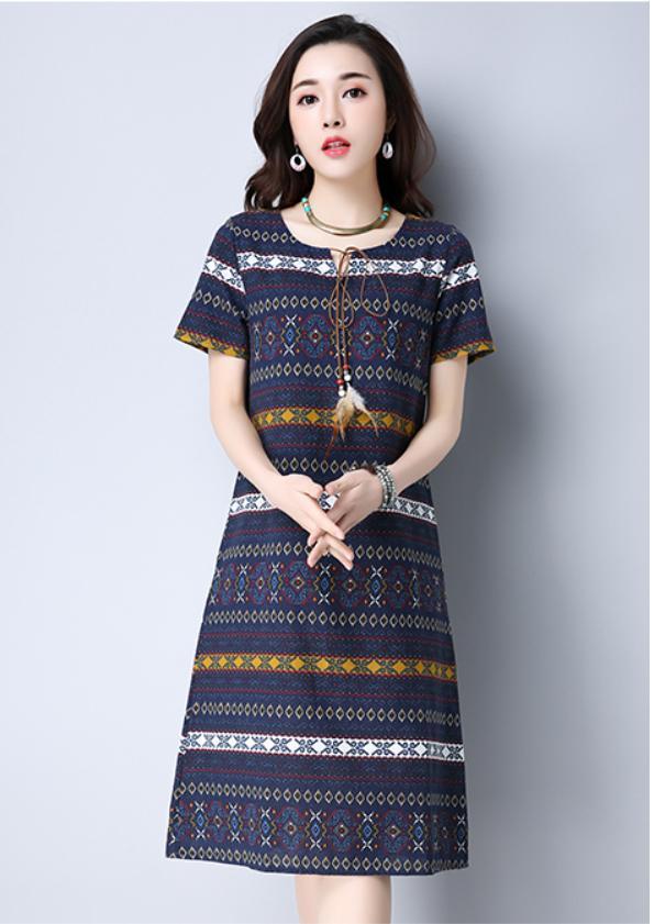 Printed Short-Sleeves Dress  (Code: E8616)