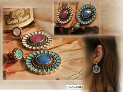 Semi-precious gem sunflower earrings.jpg