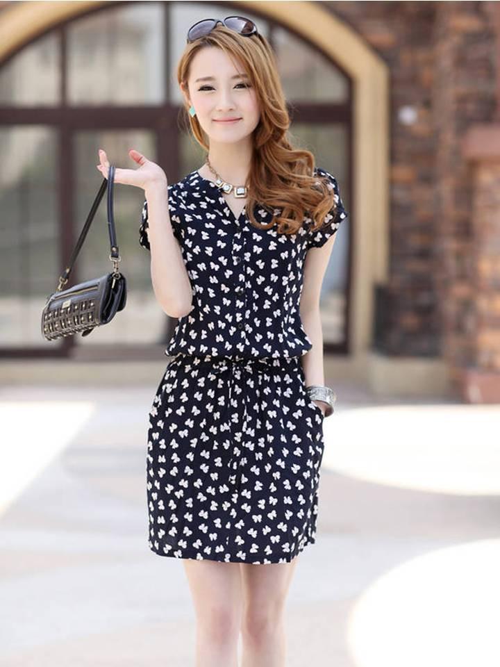 Short-Sleeves Printed Dress (Code: R1276)