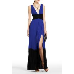 BCBGMAXAZRIA CATARINA COLOR BLOCKED EVENING GOWN