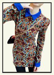dr00018 - Flower Printed Lapel Shirt Dress