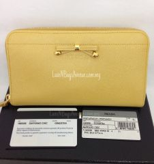 Prada 1M0506 Saffiano Chic Zip Around Wallet with Ribbon - Ginestra @ RM1,550 only