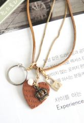 Brown line Heart Long Necklace