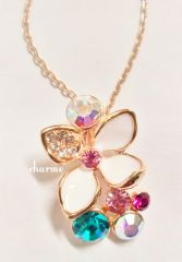 18K Rose Gold Plated Swarovski Flower Necklace