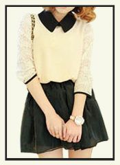 tp00020 - Lace Sleeve With Contrast Lapel Top