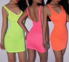 Neon spring plain dress