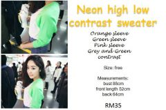 Neon High Low Contrast Sweater