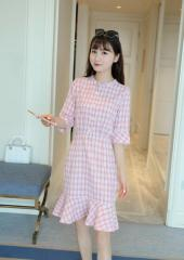 Elbow-Sleeves Checkered Dress (Code: E1182)