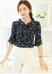 Elbow-Sleeves Floral Top (Code: E3800)