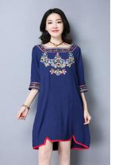 Floral-Embroidered Front Dress (Code: E8613)
