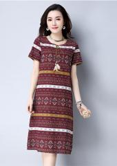Printed Short-Sleeves Dress  (Code: E8616)