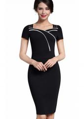 Lace-Insert Shoulder Dress (Code: E2349)