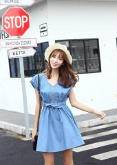 V-Neckline Denim Dress (Code: E6625)