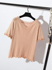 Frilly-Cuffs Knitted Top (Code: E8663)
