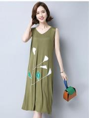 Floral-Detail Sleeveless Dress (Code: E1802)