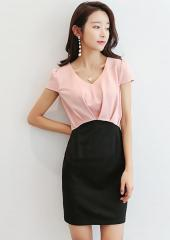 V-Neckline Dual-Tone Dress (Code: T8099)
